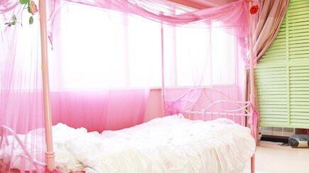 ヒカルスタジオ 第2エルフ&ジョーカースタジオ ピンクの天蓋ベッド