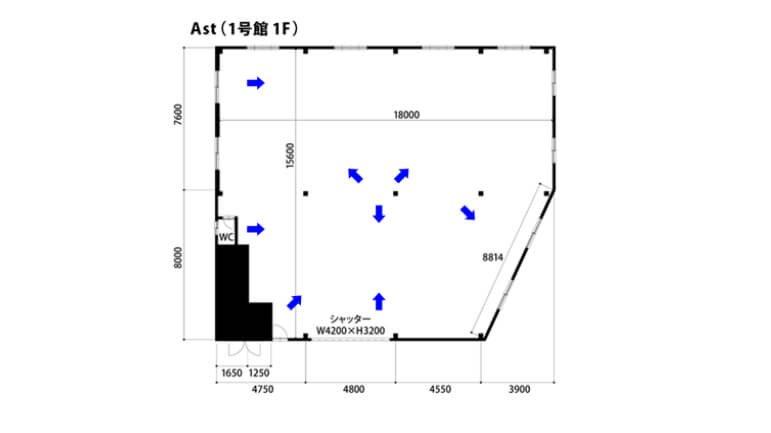 studio-be-1st_Aスタジオ フロアマップ