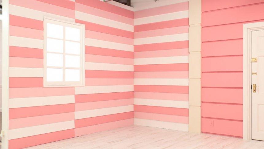 studio PINK 白とピンクのストライプ