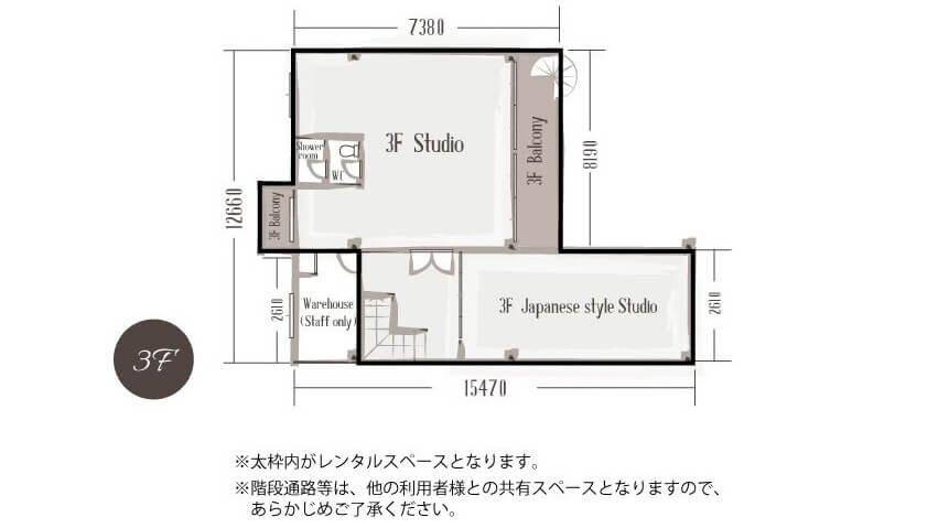 STUDIO THE GARDEN フロアマップ3F