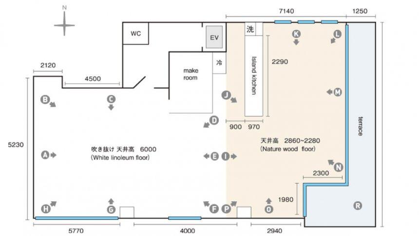 スタジオヌーン 6F フロアマップ
